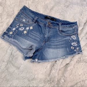 Harper floral embroidered denim shorts frayed hem